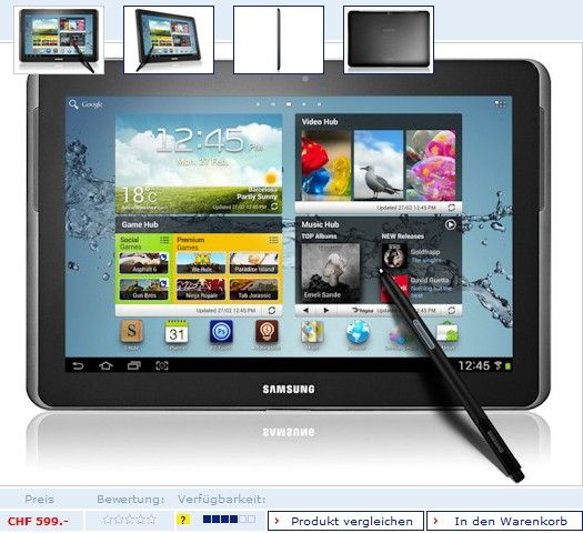 Sansung Galaxy Note 10.1 цена 499 Евро
