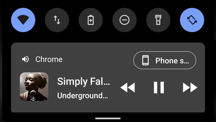 Медиаплеер Android 11 в шторке уведомлений